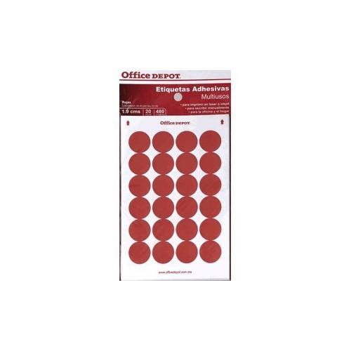 ETIQUETAS CIRCULARES OFFICE DEPOT ROJAS CON 480 PZ
