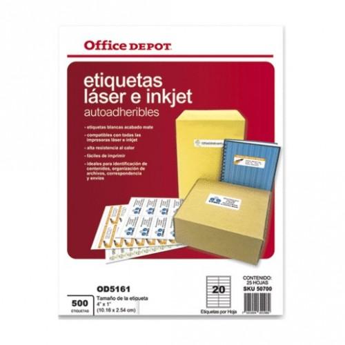 ETIQUETAS LASER INKJET 4X1 OFFICE DEPOT CON 500 PZ