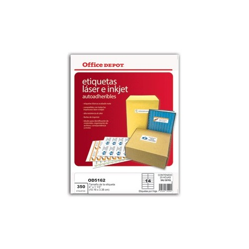ETIQUETAS LASER INKJER 4X1 1/3 OFFICE DEPOT 350