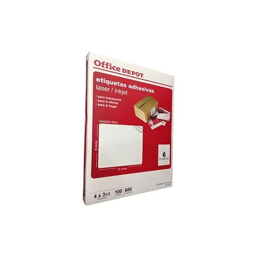 ETIQUETA LASER INKJET 4X3 1/3 OFFICE DEPOT C/600