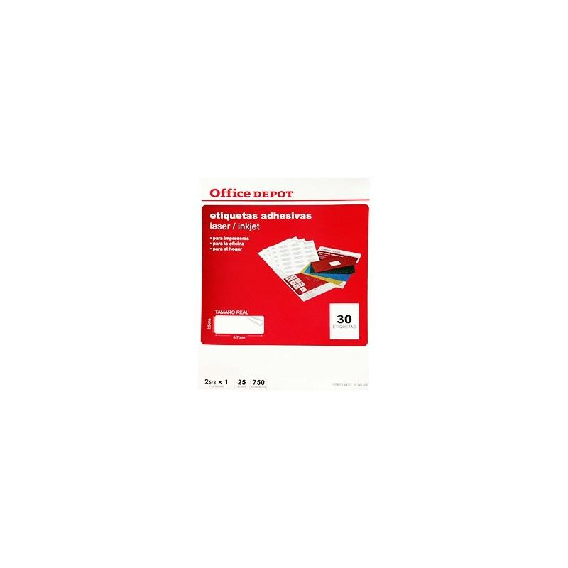 ETIQUETA LASER INKJET 2 5/8X1 OFFICE DEPOT CON 750 - Envío Gratuito
