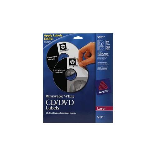 ETIQUETAS LASER PARA CD/DVD AVERY CON 50 PIEZAS