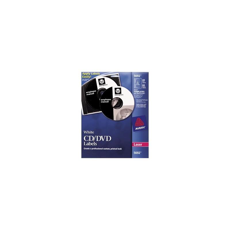 ETIQUETAS LASER CD/DVD AVERY BLANCAS CON 40 PIEZAS - Envío Gratuito