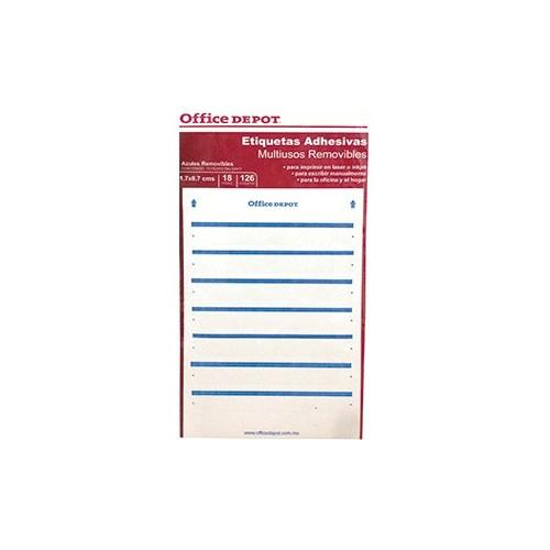 ETIQUETA RECTANGULAR OFFICE D. 17X87MM AZUL C/100