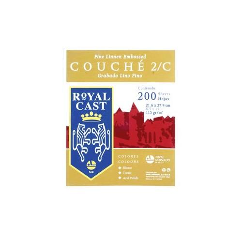 PAPEL COUCHE LINO BLANCO CON 200 HOJAS ROYAL CAST