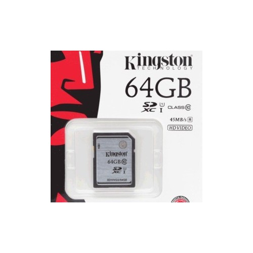 TARJETA SDHC KINGTON 64GB CLASE 10 - Envío Gratuito