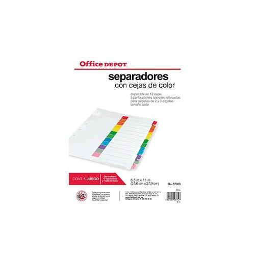 SEPARADORES INDICE 12 DIVISIONES S/NUMERO