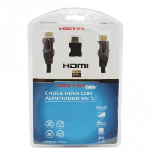 CABLE HDMI MASTER PREMIUM (1M, ADAPTADOR L) - Envío Gratuito