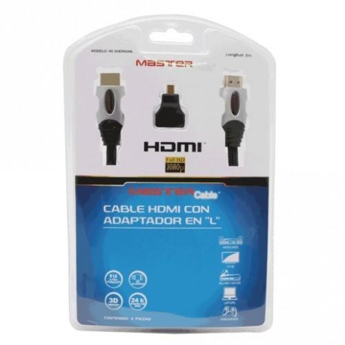 CABLE HDMI MASTER (2 MTS, ADAPTADOR MICRO HDMI) - Envío Gratuito