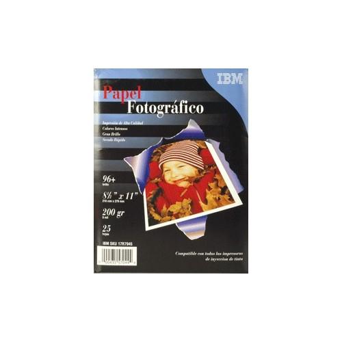 PAPEL FOTOGRAFICO ALTO BRILLO CARTA 25 HOJAS IBM - Envío Gratuito