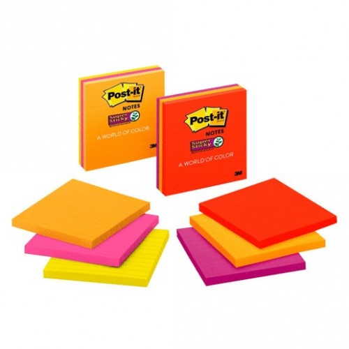 POST-IT SS RAYAS NEON 4X4 3 PAQUETES CON 70 HOJAS